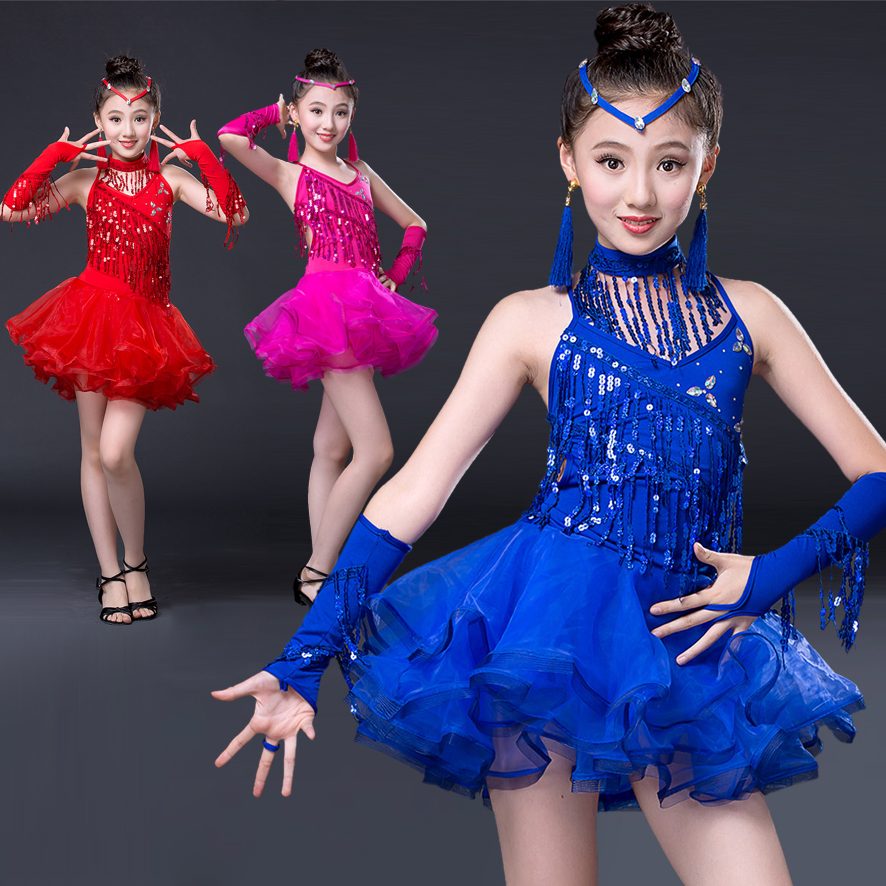100-160cm professional new children Latin Dance blue red rosy Girls skirt sequins Latin dance dress clothing fashion tassel