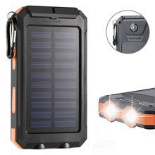 цена на GTF Dual-USB Waterproof Solar 10000mAh Power Bank Battery Charger Compass Charging Po Solar Mobile Power for Xiaomi iPhone X 8