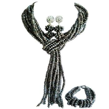 Trendy Silver Plated Crystal Anniversary Present Beaded Necklace Earring Sets 10C-WJ-03