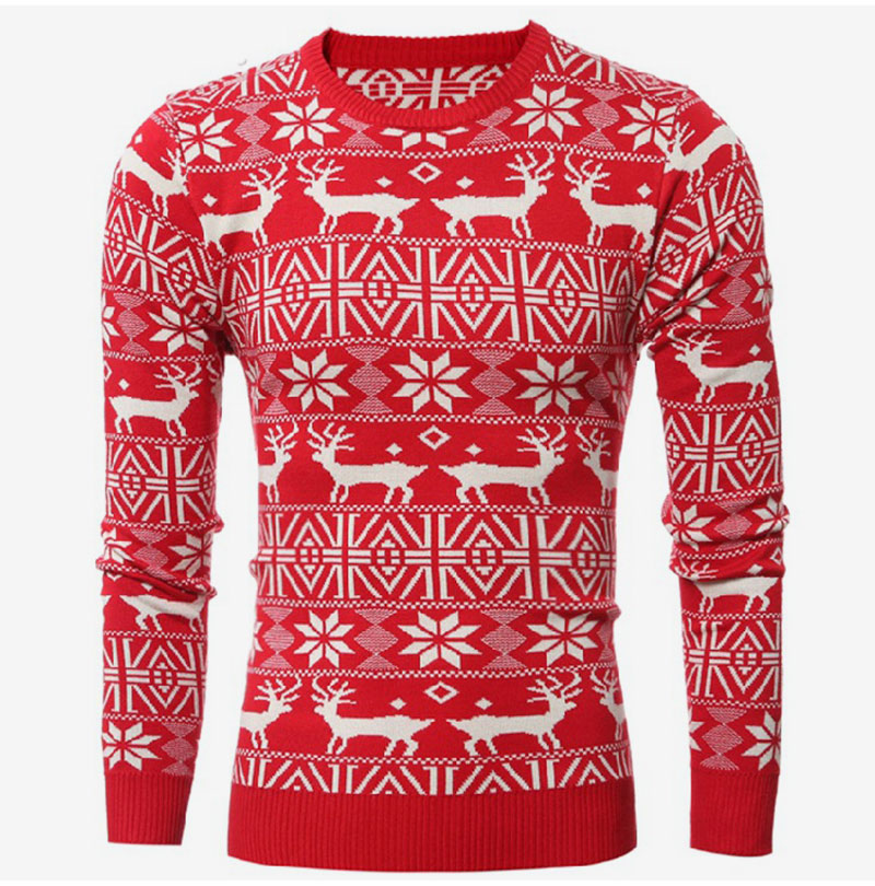 330e548d4f174 2018 Winter Christmas Men Sweater Deer Printed Long Sleeve Warm Knitted  Pullover Men s Casual Slim Fit O-Neck Thick Sweater Tops