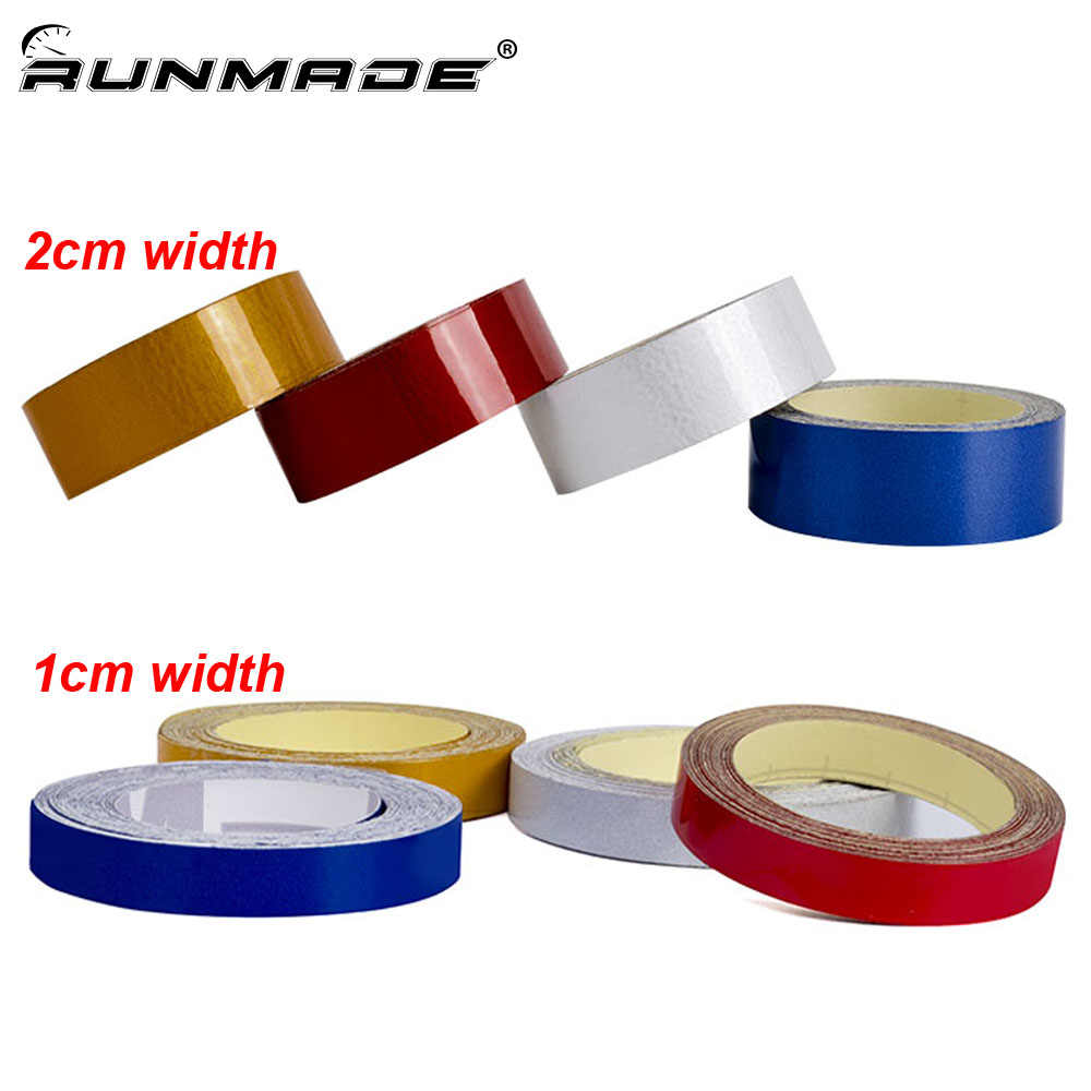 runmade 1cm or 2cm *5m Reflective Waterproof Safety Warning Tape Sheeting Sticker For Auto Motorcycle Bike Truck Car Styling