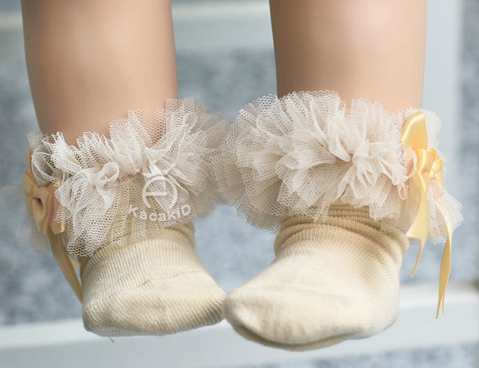 Baby Girl Socks Cotton Lace Bow Tie Socks Princess Toddler Socks 0-12M