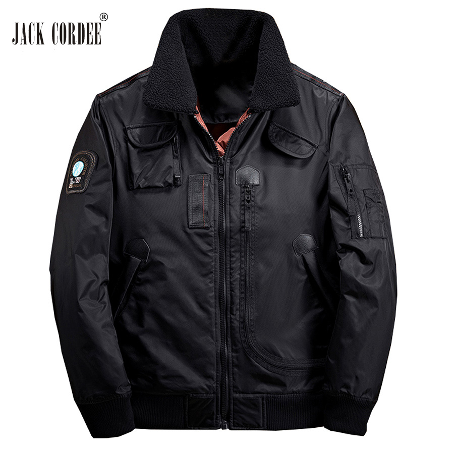 JACK CORDEE Warm Winter Jacket Men Thick Parkas Pockets Fleece Collor Men Windbreaker Zi ...