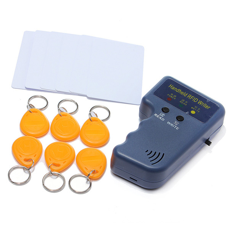 RFID Handheld 125KHz EM4100 ID Card Copier Writer Duplicator Programmer Reader+6Keys+6pcs Rewritable ID Keyfobs Tags Cards