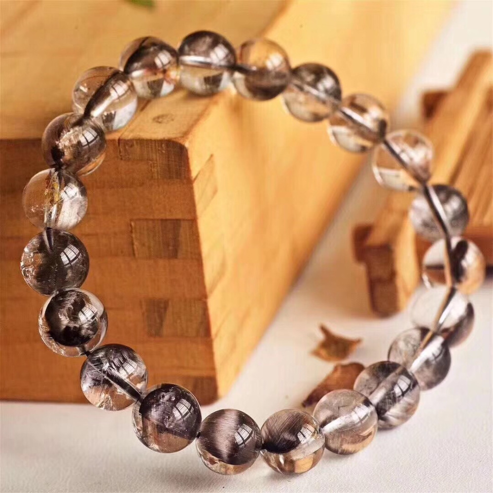 Natural Brookite Platinum Silver Rutilated Quartz Bracelet  (5)