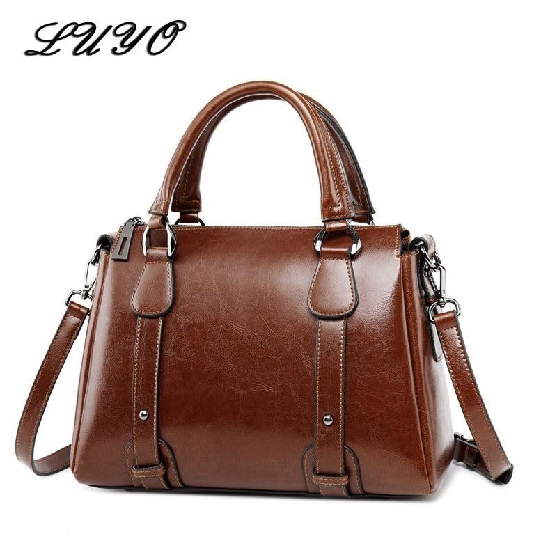 UYO Vintage Wax Oil Genuine Leather Briefcase Top-handle Luxury Shoulder Bags Designer Female Ladies Handbags Women Tote Bag