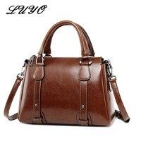 UYO Vintage Wax Oil Genuine Leather Briefcase Top handle Luxury Shoulder Bags Designer Female Ladies Handbags Women Tote Bag