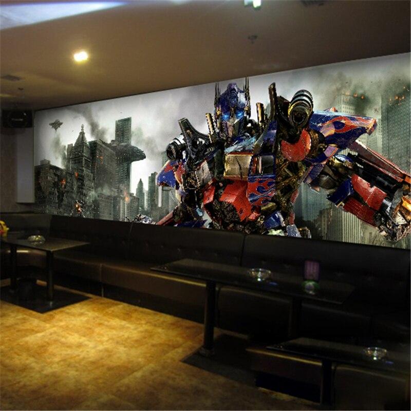 Beibehang Papel De Parede 3D The Transformers Mural Wallpaper Robot Full Wall  Murals Print Decals Home