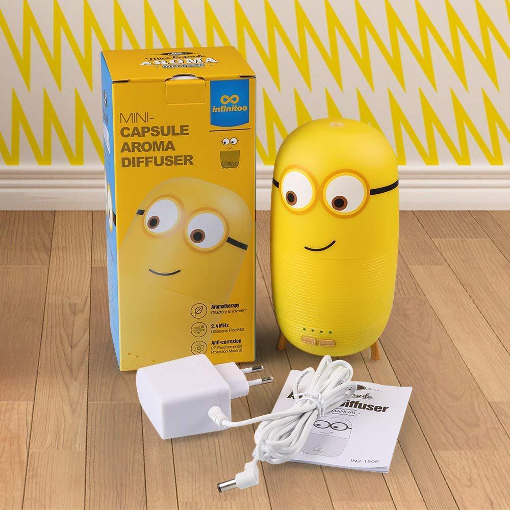 Mini Minions Capsule Aroma Diffuser Ultrasonic Air Humidifier Eletric Essential Oil Aromatherapy Diffuser with Night Light