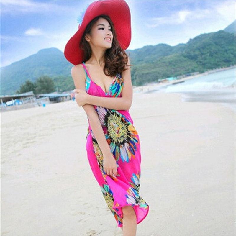 Mujeres sexy floral bohemio backless beach dress summer beach estilo correas ves
