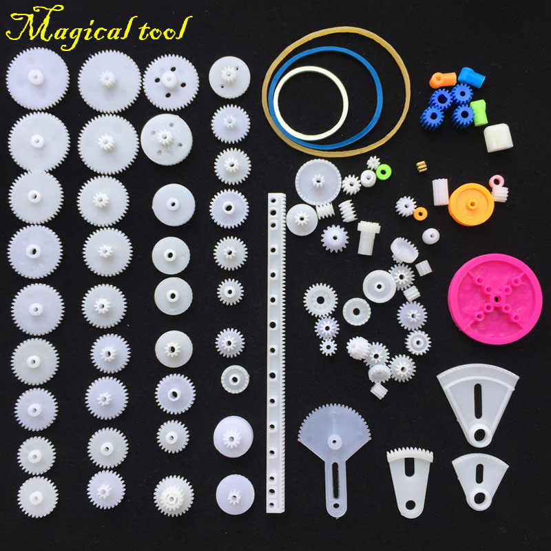 2017 DIY 85 Pcs Plastic Gear Motor Gearbox For Model Toys Car Ship DIY Accessories Gift For Children Scientific Experiment