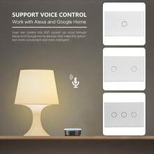 1/2/3 banda inteligente WiFi luz de pared Panel de Interruptor táctil hogar Control remoto Alexa Interruptor táctil de pared panel AC 110-240 V 50/60Hz(China)