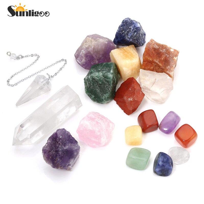 Sunligoo 7 pierres dégradées, pierres rugueuses Chakra, pendule à Quartz clair, améthyste brute, Quartz Rose, Point de cristal Reiki Med