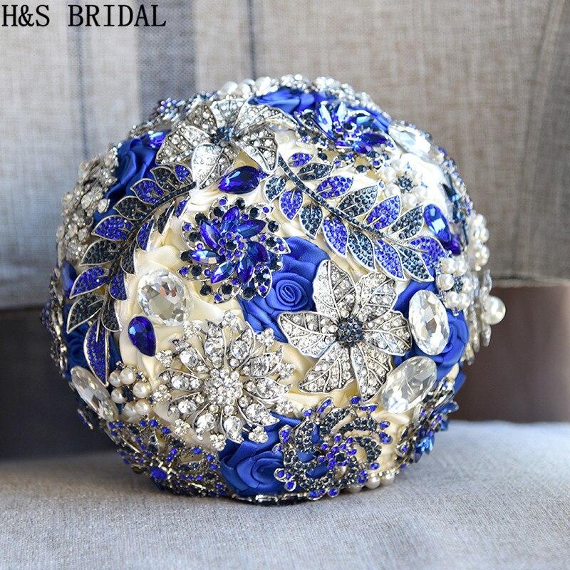 H S BRIDAL Stunning Bride Brooch Bouquet Royal Blue Leaf Bouquet Crystal Wedding flowers Bridal Bouquets