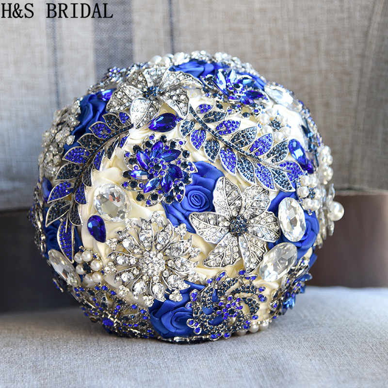 H&S BRIDAL Stunning Bride Brooch Bouquet Royal Blue Leaf Bouquet Crystal Wedding flowers Bridal Bouquets Wedding Accessories