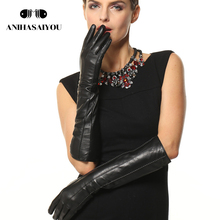Women's Gloves Genuine Leather Black  Solid Gloves Length 45cm genuine leather gloves female gloves,Free shipping