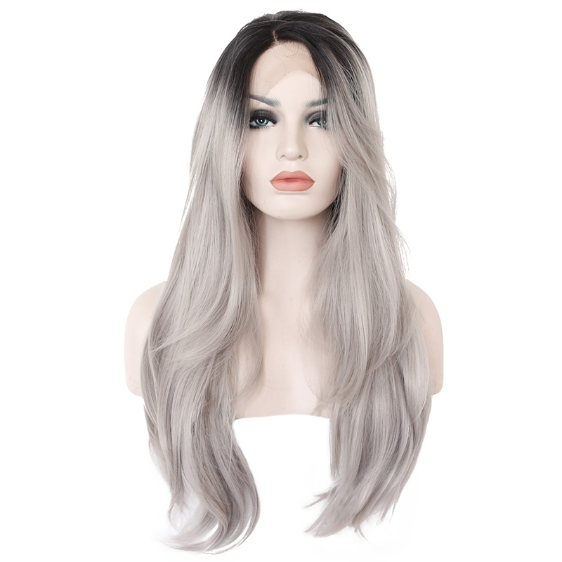 Marquesha Natural Wavy Heat Resistant Fiber Synthetic Dark Root Gray Lace Front Ombre Silver Grey Wig For Women