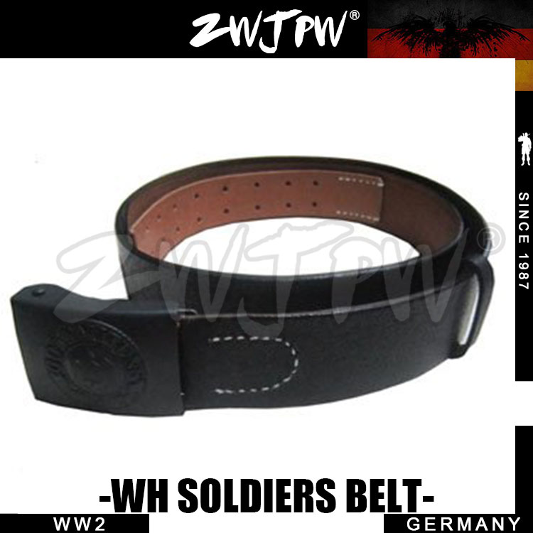 WWII GERMAN SOLIDER BELT OUTDOOR ARMY LEATHER BLACK WH BELT WITH BUCKLE-DE/403103 wwii ww2 japanese infantry officer leather belt with sword chain high quality jp 45421