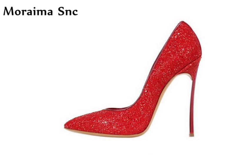Moraima Snc 20108 popular wedding pumps shallow slip-on pointed toe thin high heels PU leather colorful bling chic women pumps moraima snc luxurious women pumps shallow high heels pointed toe flower pu leather ankle strap buckle party women pumps