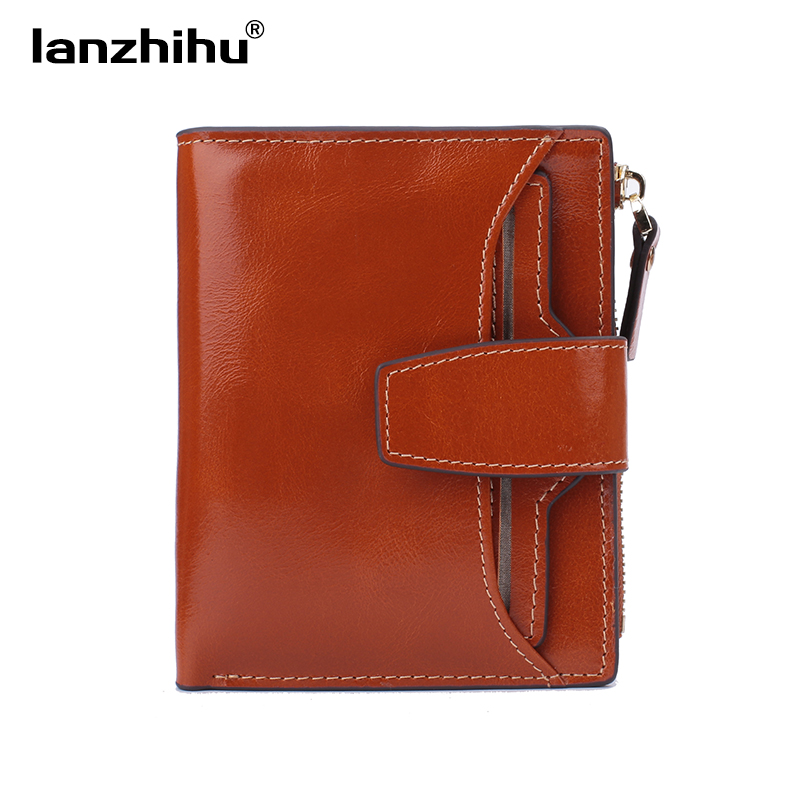 Valódi bőr pénztárca nők rövid Vintage divat csúcsminőségű kis pénztárca bőr pénztárca női kis cipzáras érme zseb márka