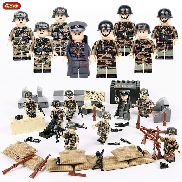 US $3 52 10% OFF|Oenux Classic World War 2 German Army Assault Special  Force Military Building Block Set WW2 Soldier Figure With Weapon Brick  Toy-in