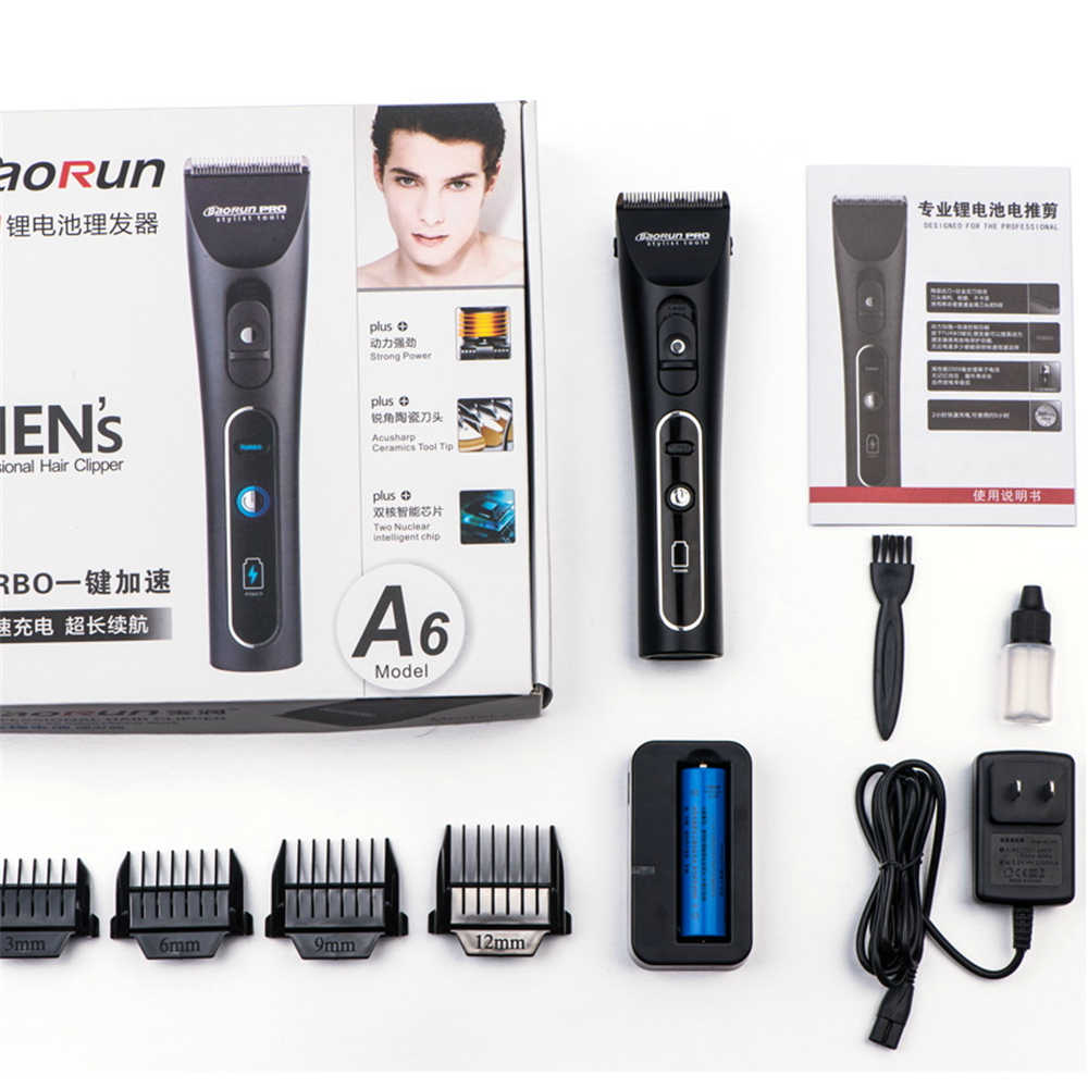 Professional Electric Hair Clipper Lithium A6 Rechargeable Hair Trimmer Titanium Ceramic Blade for Salon Hair Cutting Machine