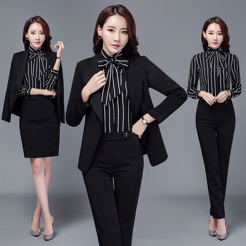 Femmes travail porter costume tenue de bureau femmes affaires manteau & bande chemise & pantalon & robe ensemble à manches longues 3 pièces/4 pièces livraison directe