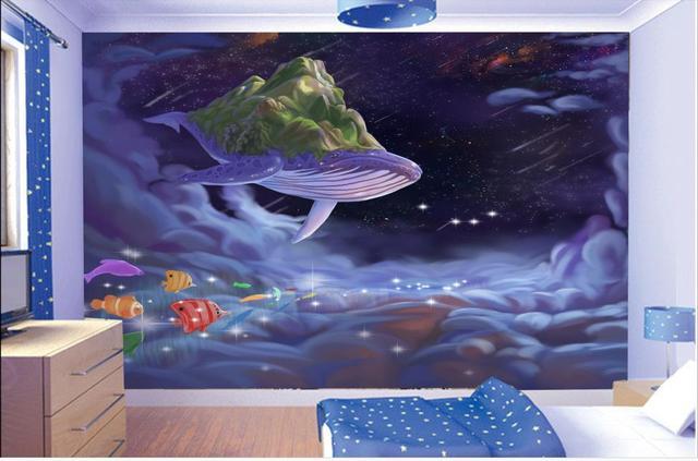 Behang Kinderkamer Vissen : Custom 3d foto behang kinderkamer mural vliegende vis zee wave kamer