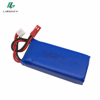 3 sztuk 7 4 V 1200 mAh akumulator li-po dla YiZhan Tarantula X6 MJX X101 X102h X1 H16 dla WLtoys V666 V262 V353 V333 V323 części zamienne tanie i dobre opinie Limskey 7 4V 1200mAh Li-po Battery Li-ion 1350 mah CN (pochodzenie) Tylko baterie Vehicles Remote Control Toys
