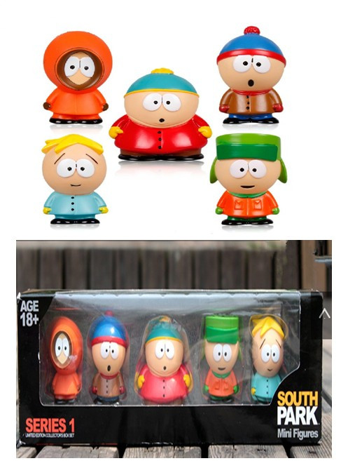 5PCS/Set Approx 6cm Cute South Park PVC Figure Doll Toy Model Dolls Baby Toys Christmas Gifts Free Shipping