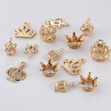 цена на 20pcs/lot KC Gold Color Metal Alloy 3D Princess Crown Charms Pendants Beads Fit Bracelet DIY Handmade Jewelry Making Findings