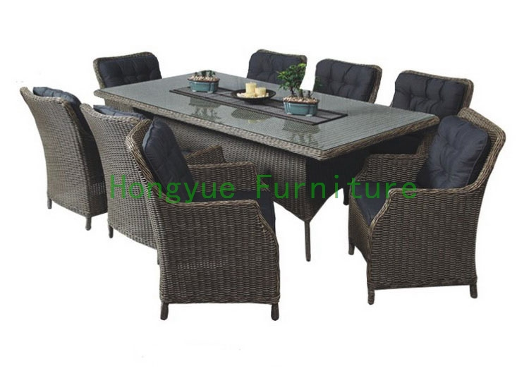 Rattan dining room sets with cushion and tempered glass new pe rattan dining chairs with tempered glass