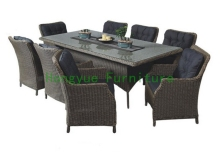 Rattan dining room sets with cushion and tempered glass