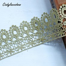 1Yard 7.5cm wide Gold Crown Lace Trim Ribbon Water Soluble Embroidery Fabric Headscarf Hair Accessories Trimmings DIY Craft