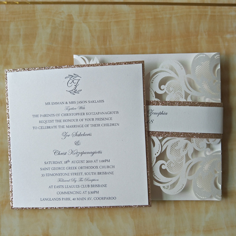 12pcs Luxury Ivory Laser Cut Wedding Invitations Cards Glitter Gold ...