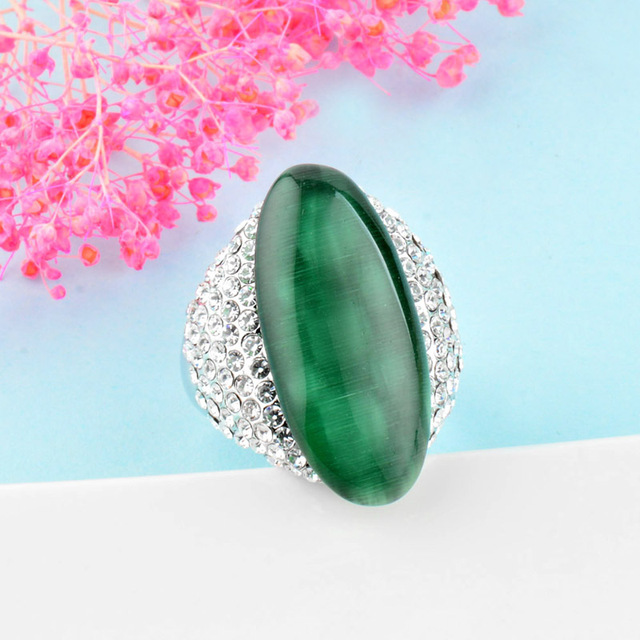 SINLEERY  Vintage Big Black/Green Stone Shuttle Rings For Women Size 7 8 9  White Gold Color Wedding Party Jewelry   JZ512