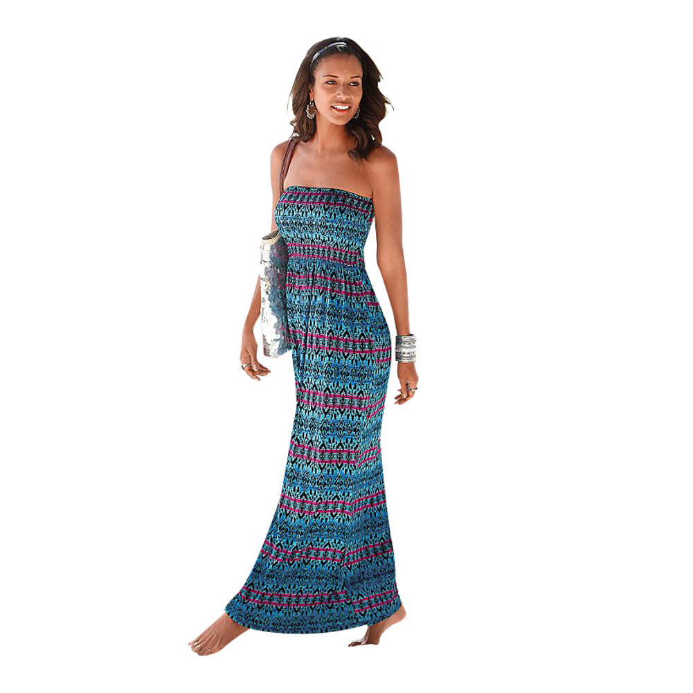 2017 Summer New Fashion Women Plus Size Holidays Dresses Boho Style Off Shoulder Print Maxi Dress with Pockets Vestidos De Festa