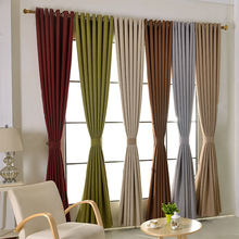 Readymade blackout linen curtains, #LR-zirang cotton+linen solid color drapes, thicken bedroom cortinas for windows living room
