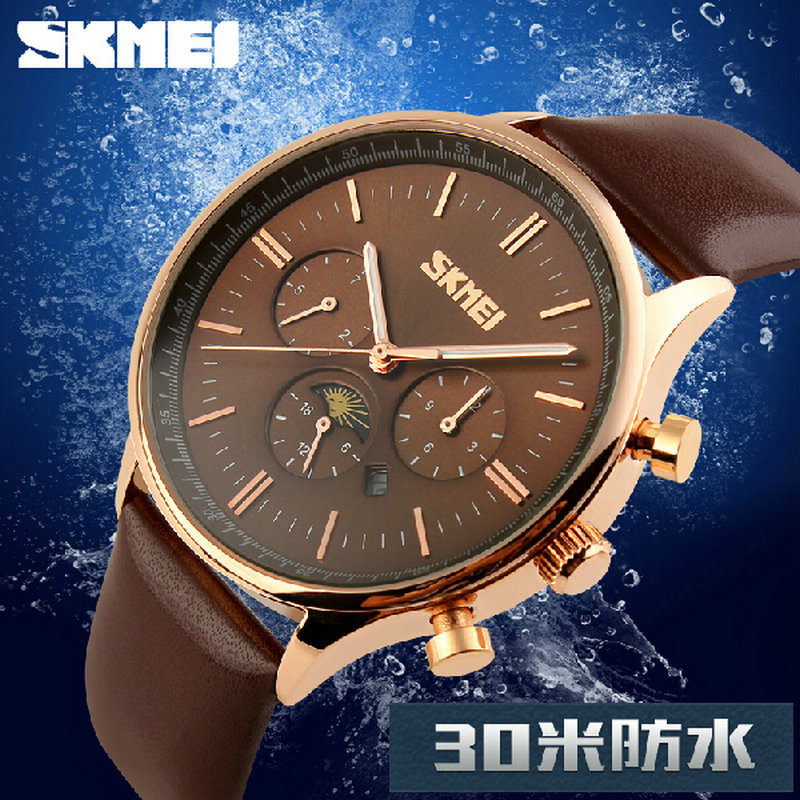 Promotion luxury men brand men rose gold masculino watches Fashion Quartz waterproof sport business Wristwatch Leather