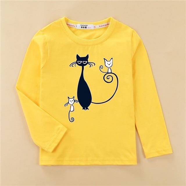 Printed tees kitten pattern girls t-shirt fashion long sleeved clothes cute cat design baby girl tops full cotton child tshirt 2