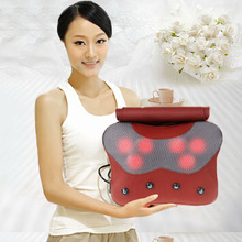 Red Color Massage Electric Pillow Adjustable Neck Massager Pillow With Far Infrared Heating Function