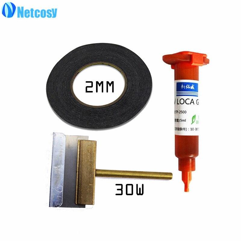 30 w UV Colla Clean Tool & 2mm Nero Double Sided Nastro Adesivo e TP-2500 5 ml UV colla per Smartphone LCD Touch di riparazione dello schermo