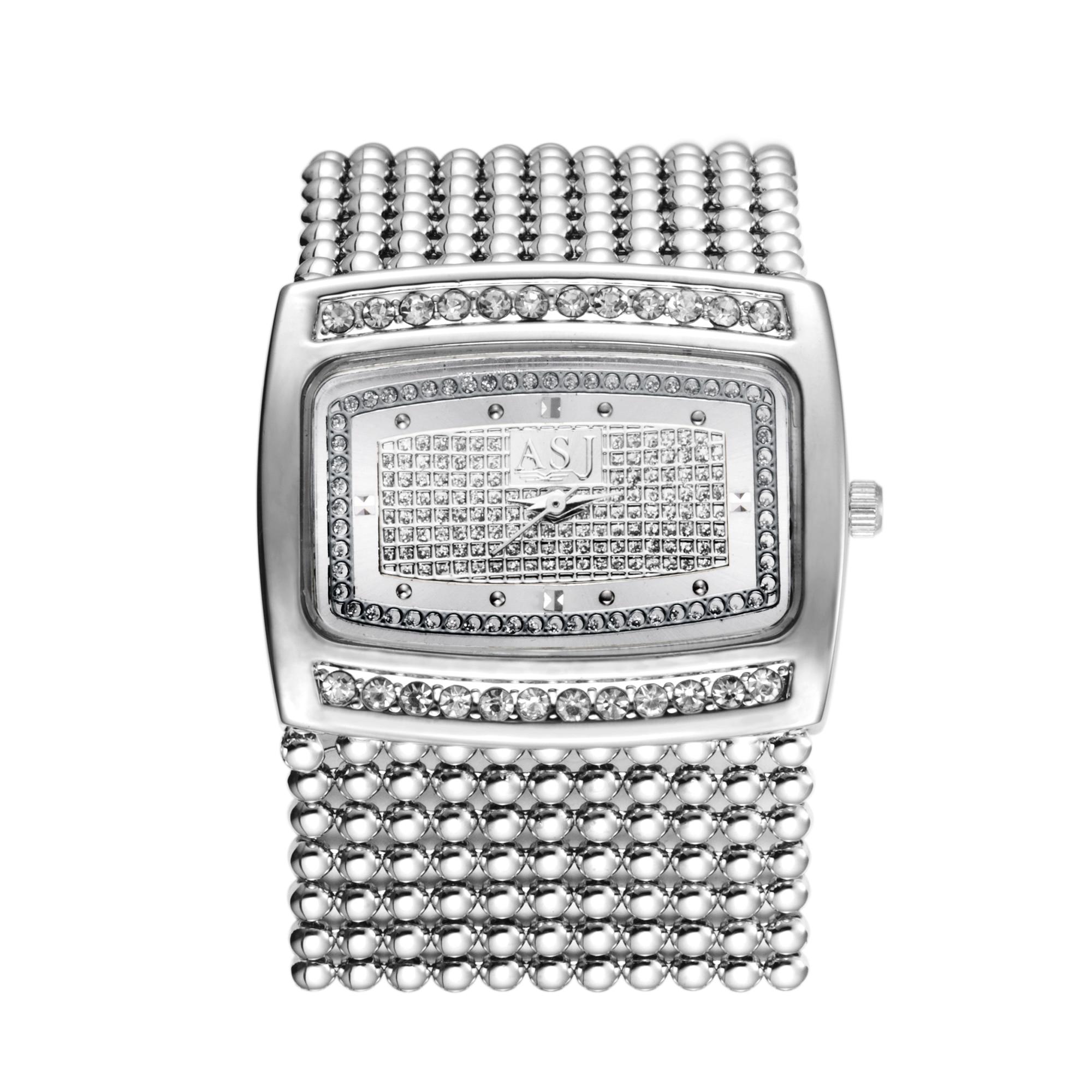 새로운 패션 골드 / 실버 Diamante 케이스 합금 쿼츠 시계 여성 라인 석 손목 시계 드레스 Wristwatches, Dropshipping