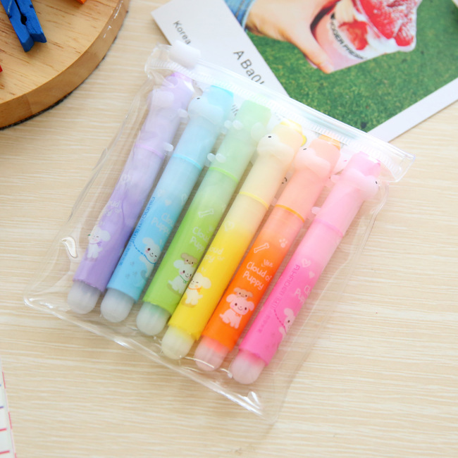 6pcs/set Cute animal printing highlighter pens 6colors Kawaii pen Office supply & Stationery