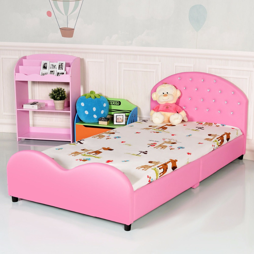 Kids Children PU Upholstered Platform Wooden Princess Bed Bedroom Furniture Pink
