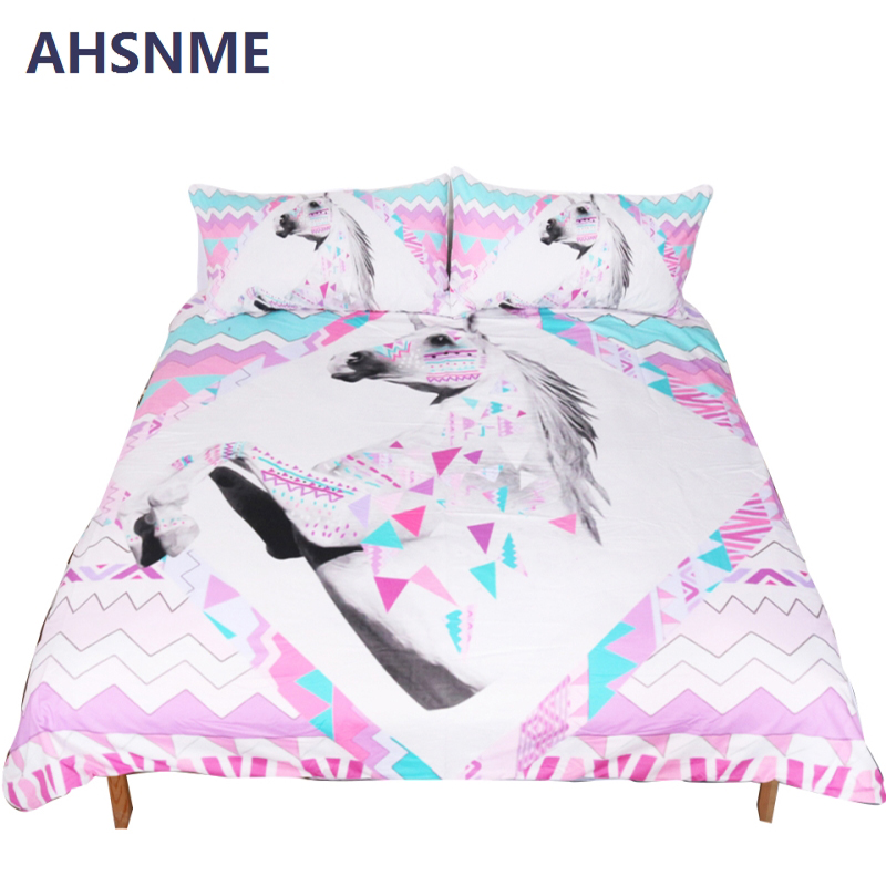 AHSNME Pink digital geometric horse unicorn style quilt cover + pillowcase Set 3pcs set Full Queen king No FadingAHSNME Pink digital geometric horse unicorn style quilt cover + pillowcase Set 3pcs set Full Queen king No Fading