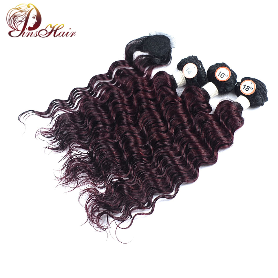 Loose Deep Wave Bundles With Closure 1B Burgundy Red Peruvian Ombre Hair 3 Bundles With  ...