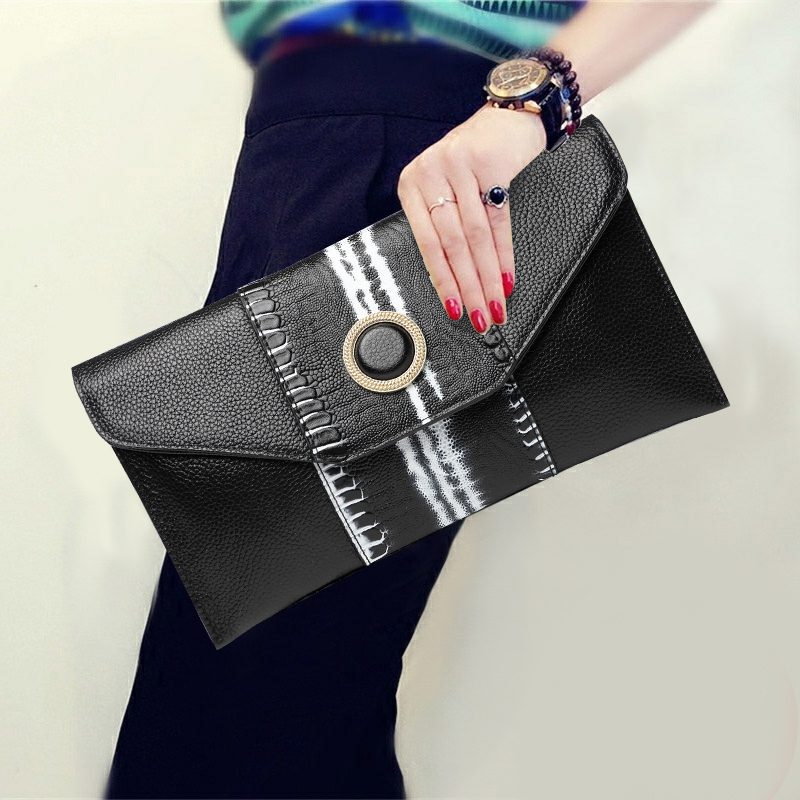 Soft Cowhide Hand Bag Purse Genuine Leather Women Wallet Evening Clutches Long Chains Envelope Shoulder Wristlets Day Clutch Bag vintage serpentine genuine leather woman clutches evening bag crossbody chain shoulder bag handbag clutch wallet lady long purse
