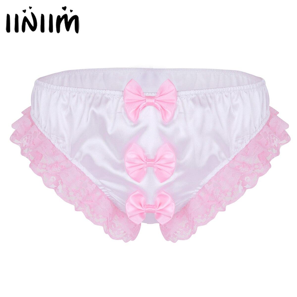 Iiniim Mens Lingerie Sissy Sexy Gay Panties Shiny Ruffles Floral Lace With Bowknots Jockstraps Briefs Underwear Underpants