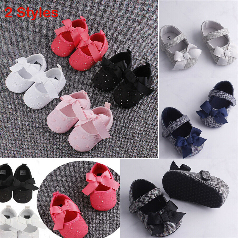 PUDCOCO Hot Toddler Baby Girls Crib Shoes Newborn Baby Bowknot Anti-slip Bow Soft Sole Prewalker Sneakers First Walkers 0-18M